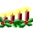 Christmas Graphic, Candles and Holly