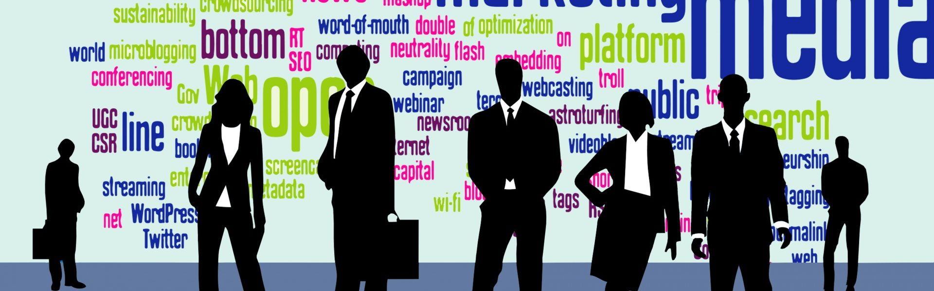Job Fair Graphic showing job words and people