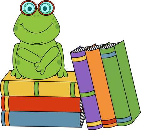 frog and books clip art2