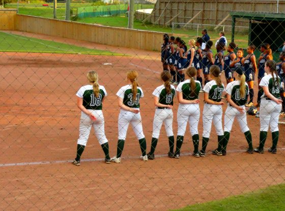 The Lady Hornets softball team during the pledge.