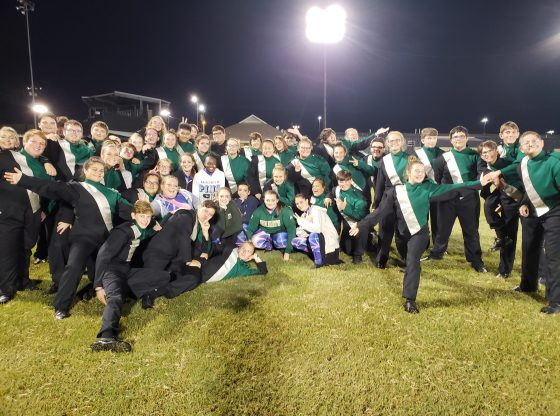 The Green Machine Marching Band at the State Championship in Jackson, Mississippi.