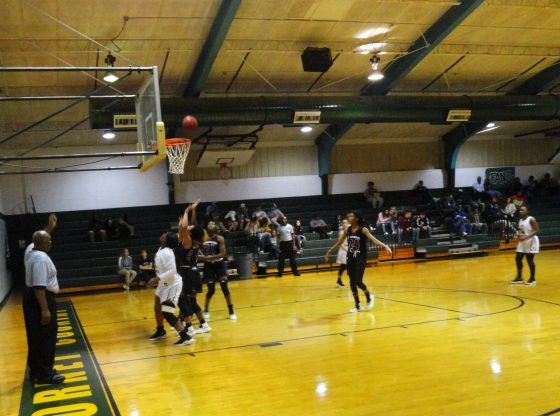 The PHS Lady Hornets playing hard on the court.