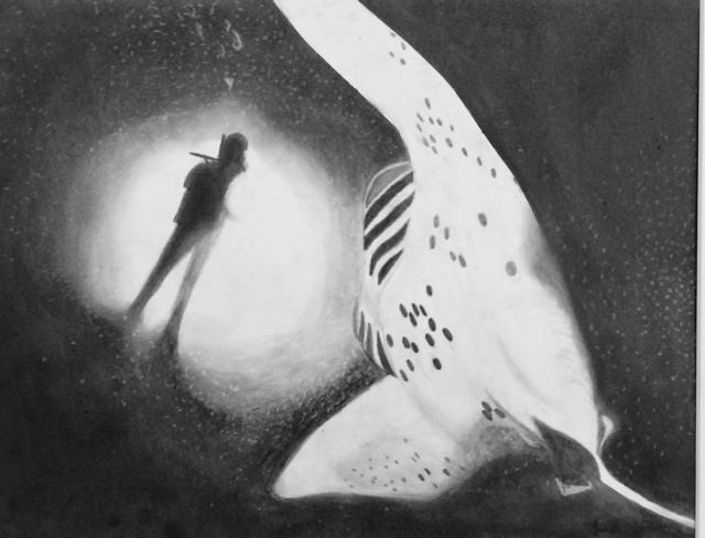 Janelle Johnson's drawing of a diver and a manta ray.