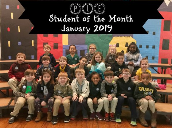 Student of the Month - January 2019 - Students are seated in three rows to be recognized for SOM