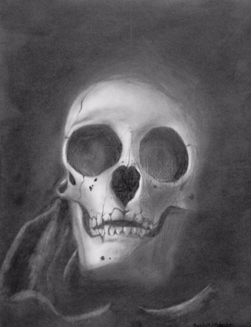 Taylor McClendon's drawing of a skull.