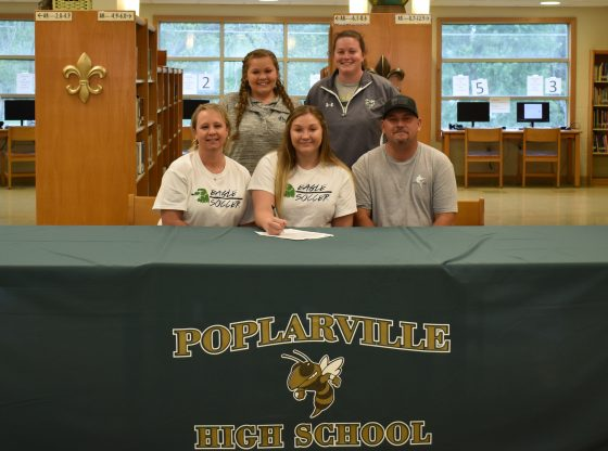 Candi Spiers signing to play soccer with Meridian Community College.