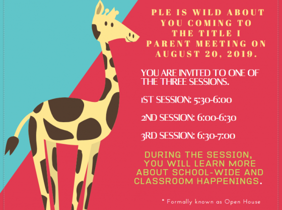 Parent Meeting PLE - Aug. 20 5:30-7:00