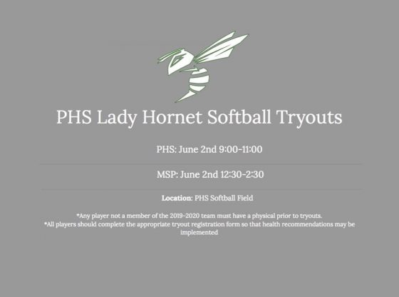 PHS Lady Hornet Softball Tryouts Scheduled