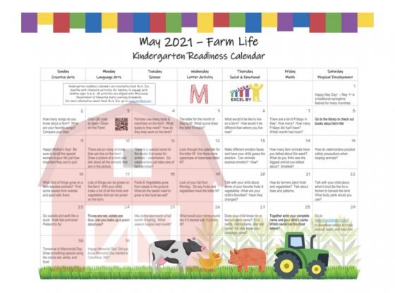 May 2021 Kindergarten Readiness Calendar