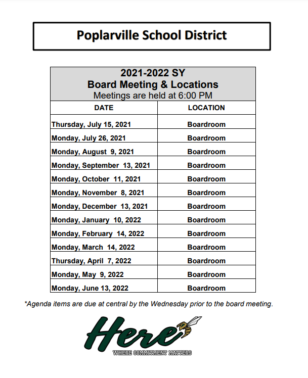 Board Meeting Locations and Times