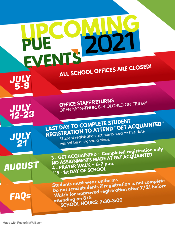 PUE Upcoming Events